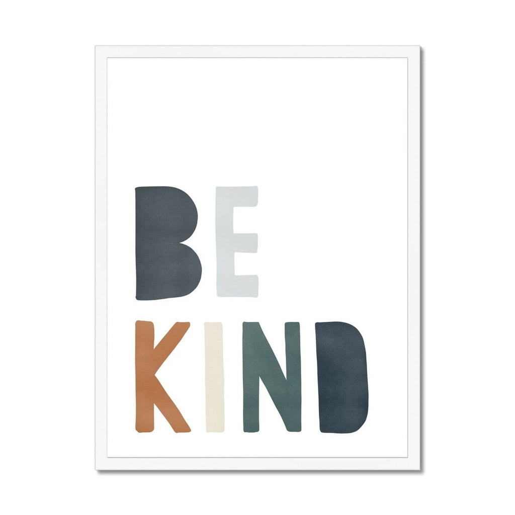 Be Kind Print - Navy, Brown & Green |  Framed Print