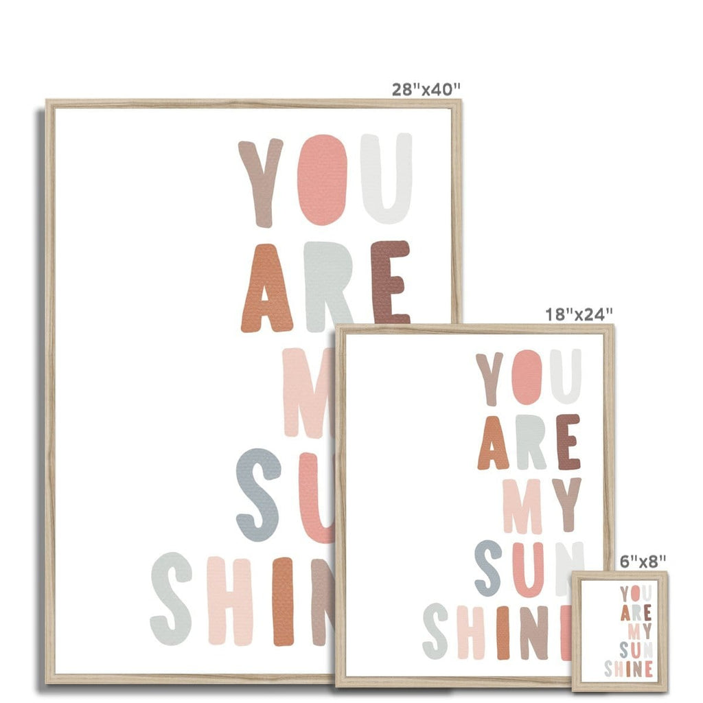 You Are My Sunshine - Ice Cream Colours |  Framed Print