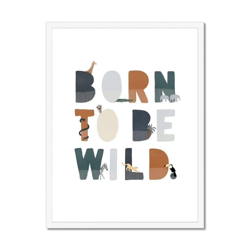 Born To Be Wild Print - Navy Illustrated |  Framed Print