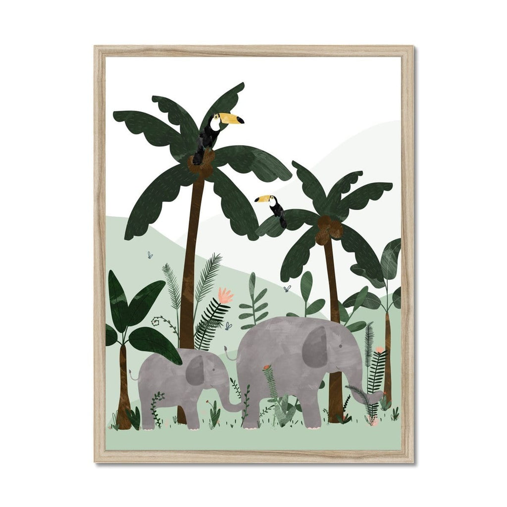 Green - Elephants in the Jungle Print |  Framed Print