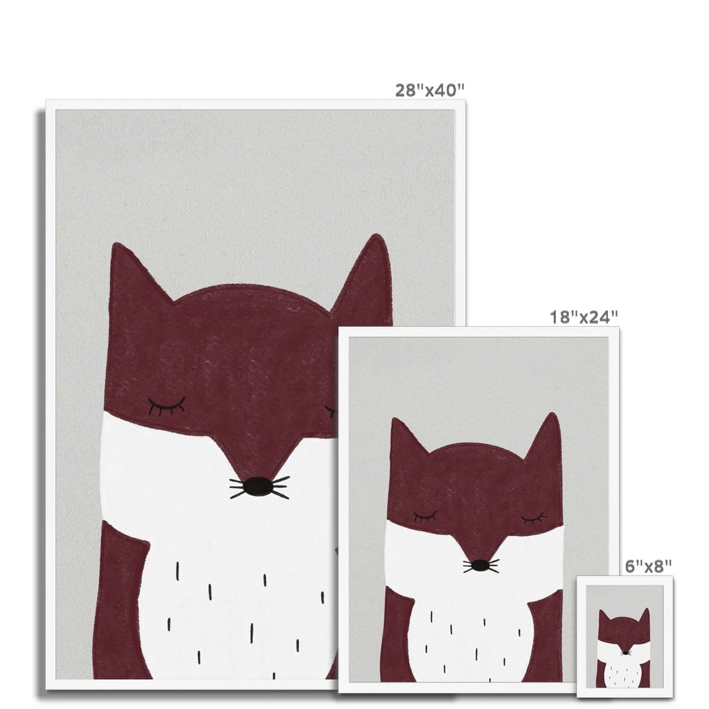 Sleepy Fox - Red |  Framed Print