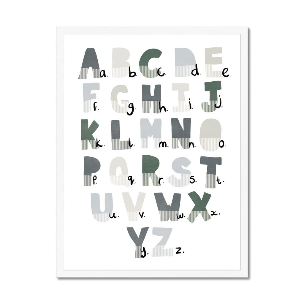 Alphabet Chart - Blue & Green |  Framed Print
