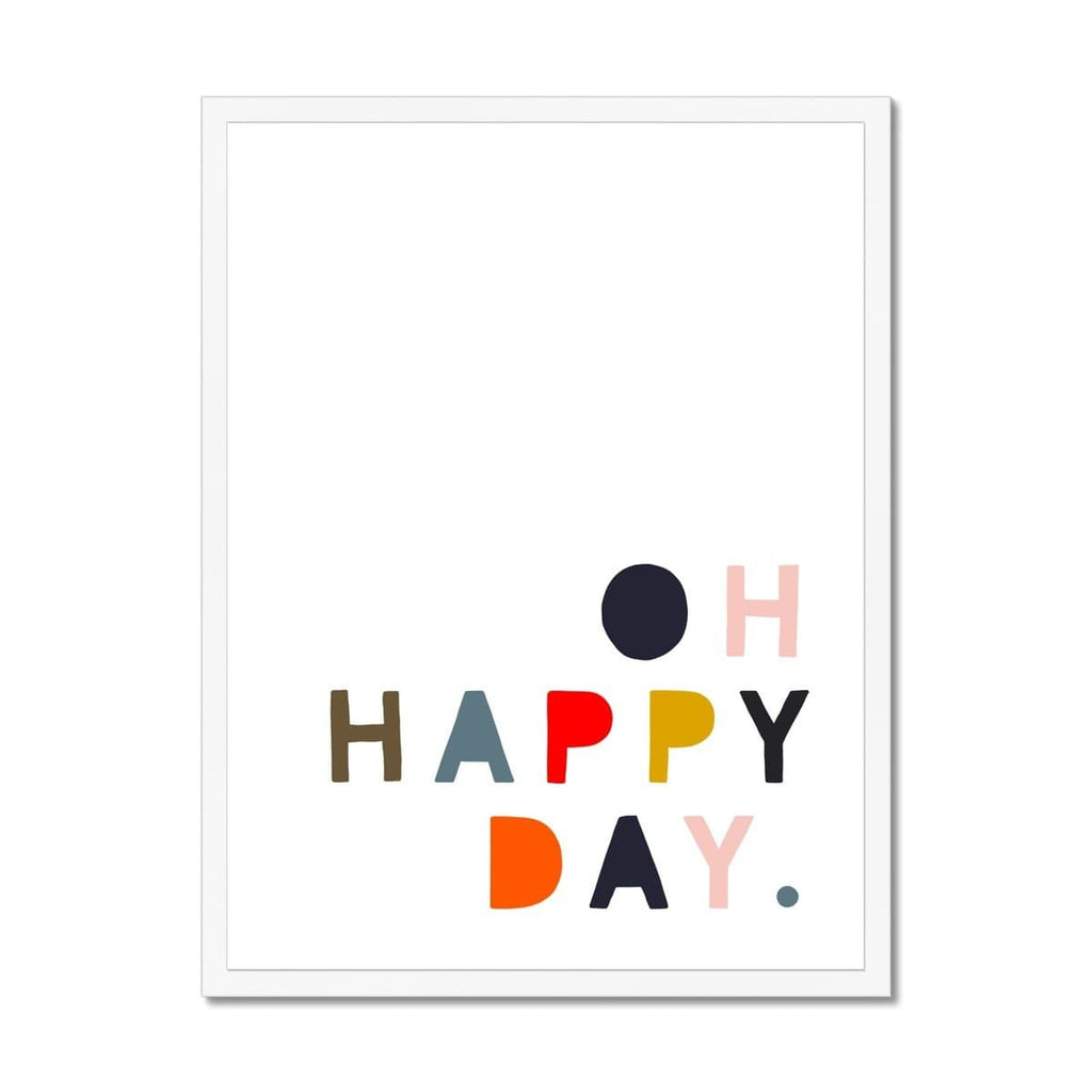 Oh Happy Day - Muted Rainbow Colours |  Framed Print
