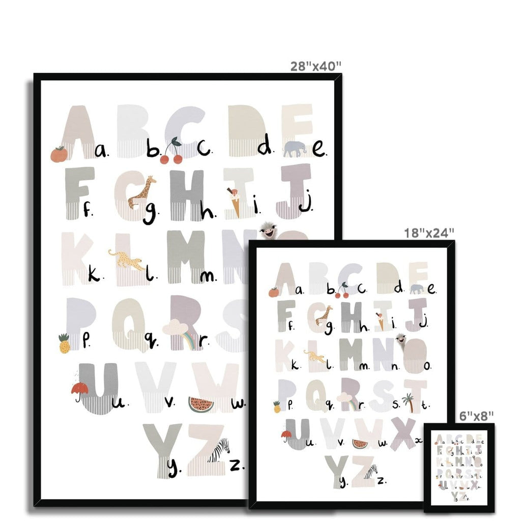 Alphabet Chart - Illustrated Natural |  Framed Print