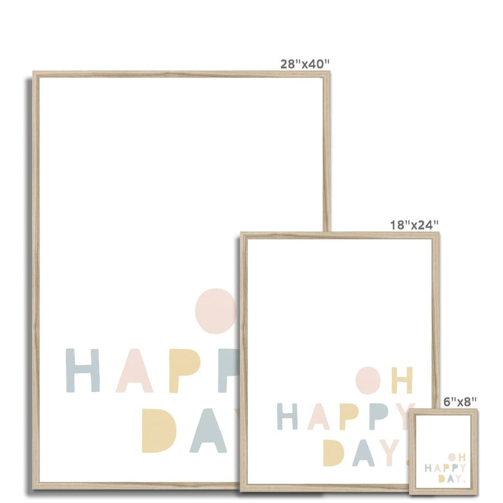 Oh Happy Day - Pink, Yellow & Blue |  Framed Print