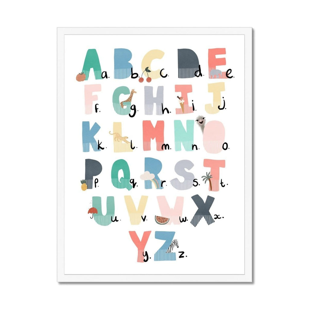 Alphabet Chart - Rainbow Colours, Illustrated |  Framed Print