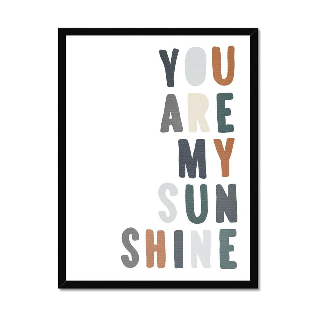 You Are My Sunshine - Navy & Brown |  Framed Print