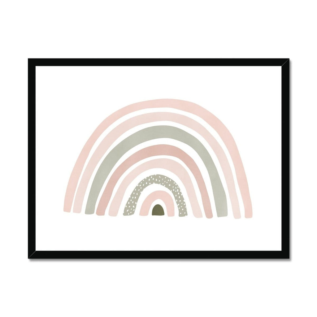 Scandi Rainbow - Pink & Sage Green |  Framed Print
