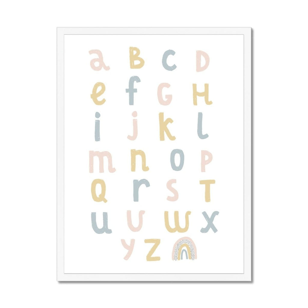 Alphabet Chart - Pink, Yellow & Blue |  Framed Print