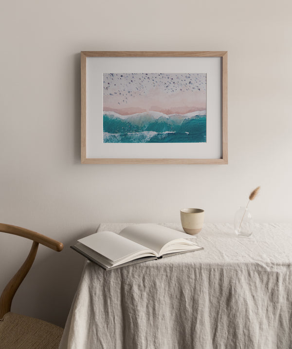 Aerial Beach View - Watercolour |  Framed & Mounted Print
