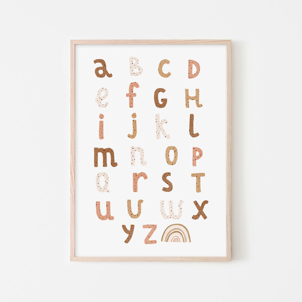 Alphabet Chart - Burnt Umber |  Framed Print