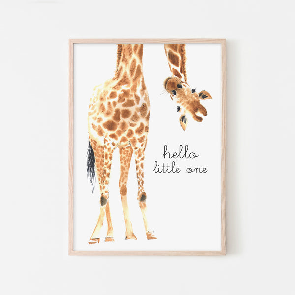 Hello Little One Giraffe - Original |  Framed Print