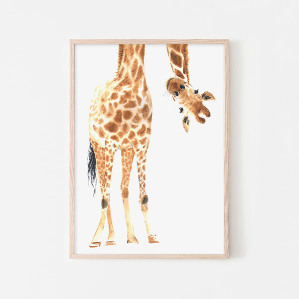 Hello Little One Giraffe - No Words |  Framed Print