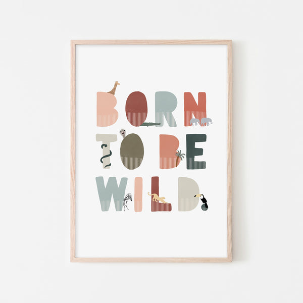 Born To Be Wild Print - Blue, Pink Illustrated |  Framed Print