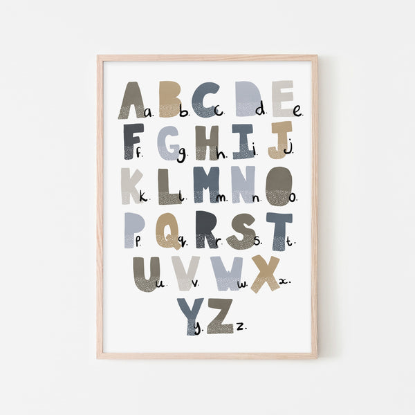Alphabet Chart - Blue & Brown |  Framed Print