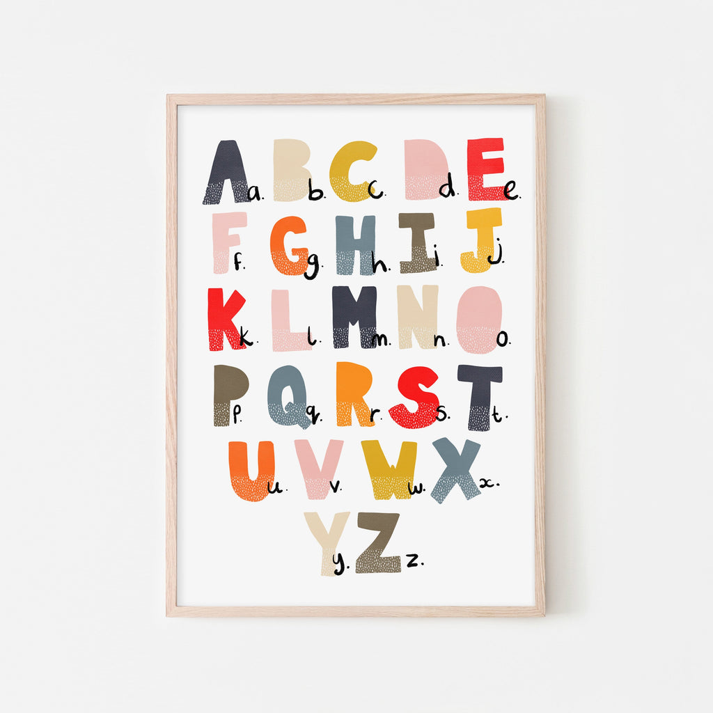 Alphabet Chart - Muted Rainbow |  Framed Print