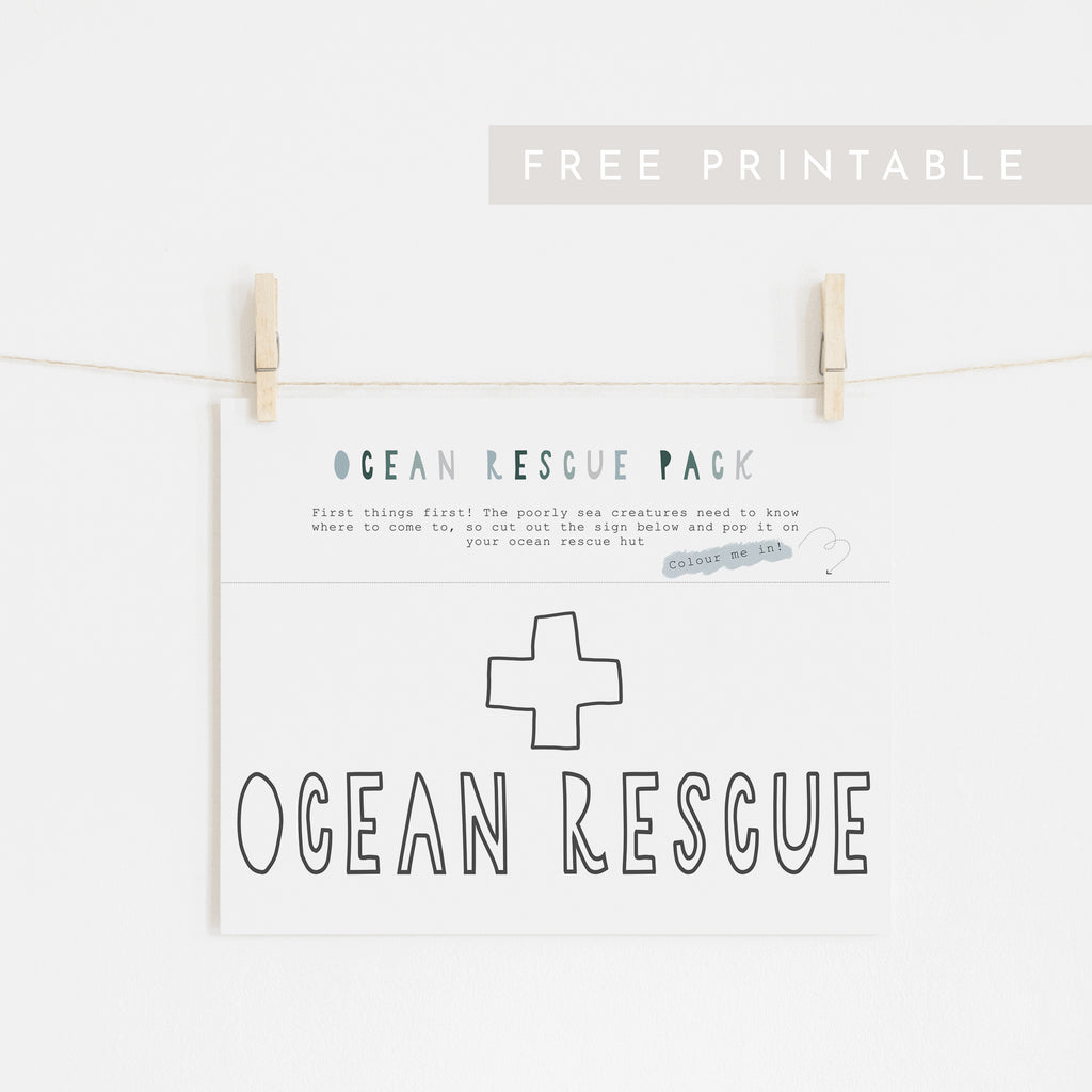 Ocean Rescue Sign (Colour in) - FREE Printable