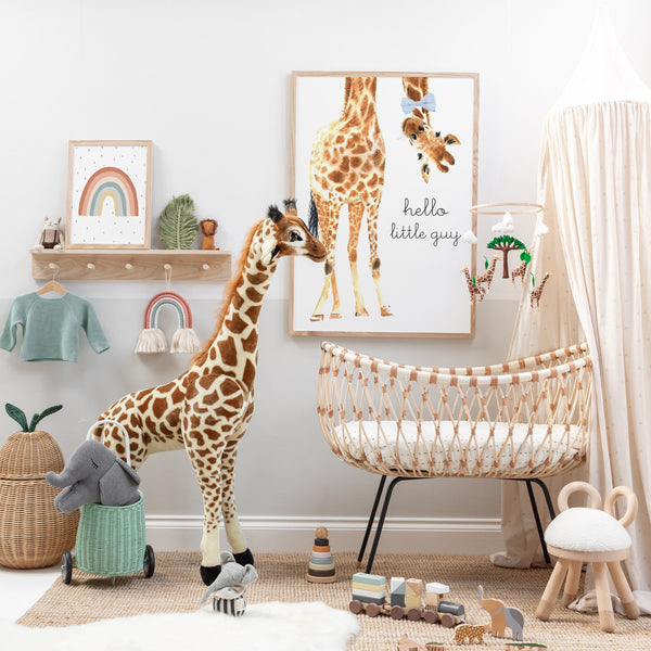 Hello Little Guy Giraffe | Unframed (Personalised)