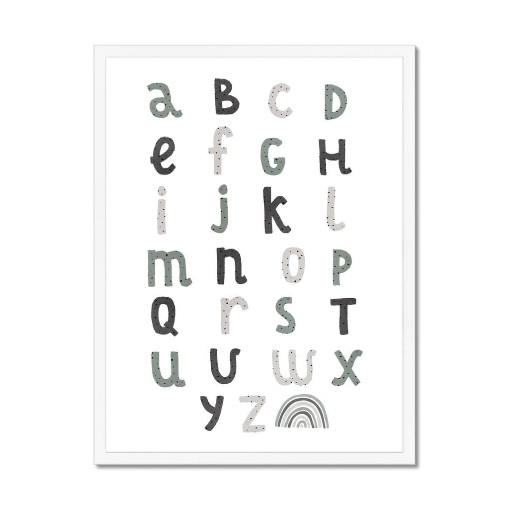 Alphabet Chart - Spearmint Blue |  Framed Print