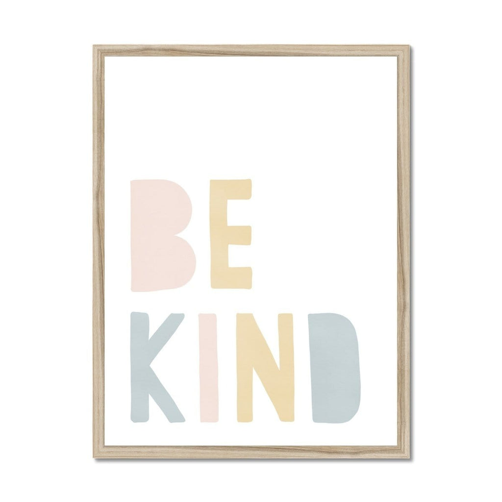 Be Kind Print - Pink Rainbow |  Framed Print