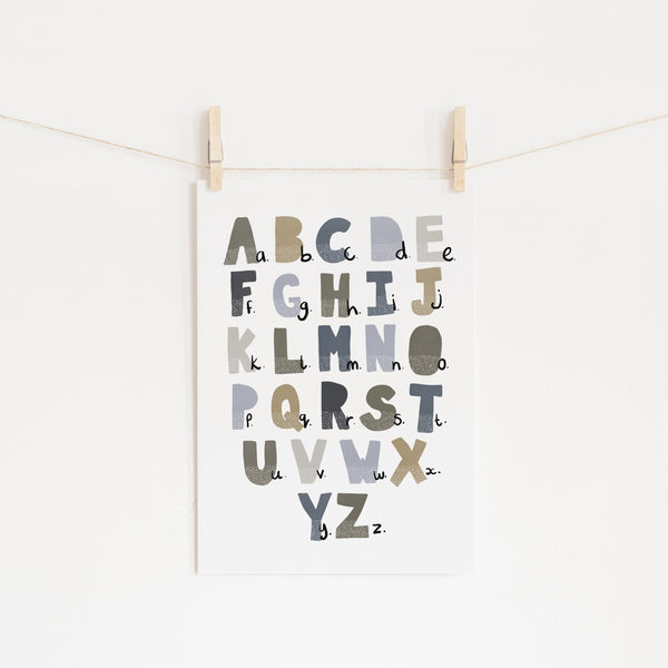 Alphabet Chart - Blue & Brown |  Unframed