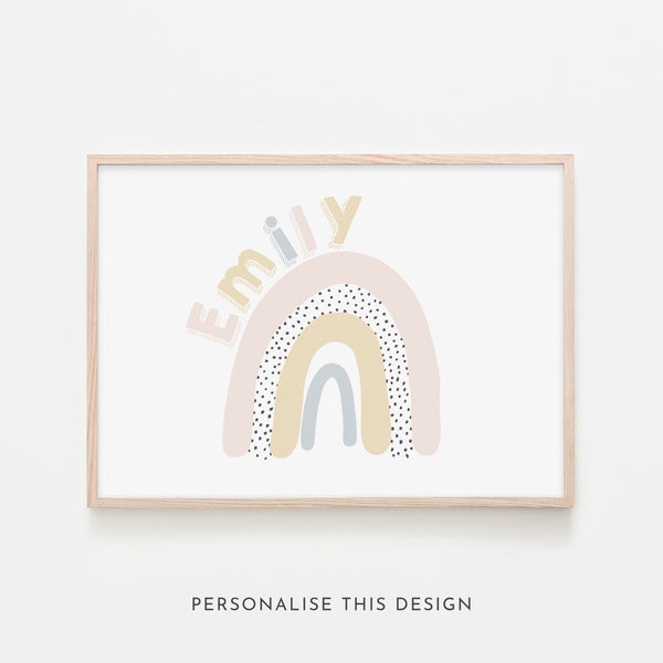 Rainbow Name Print | Framed (Personalised)
