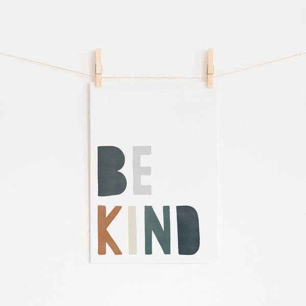 Be Kind Print - Navy, Brown & Green |  Unframed