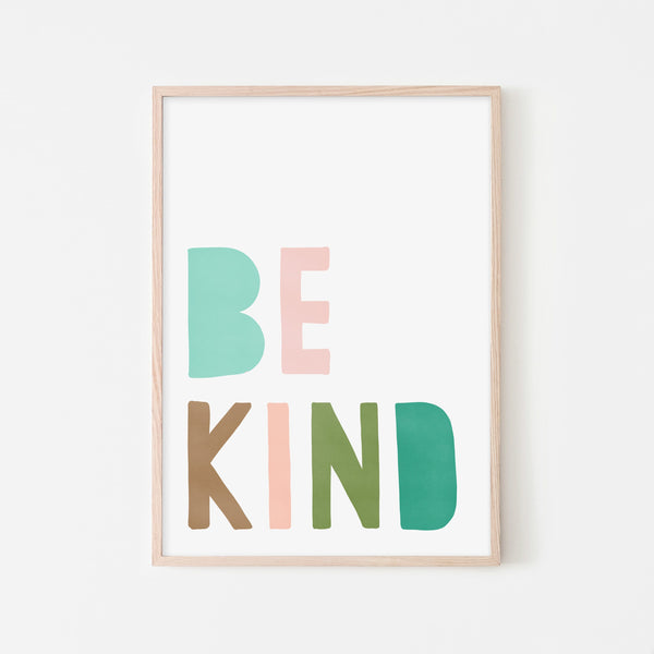 Be Kind Print - Pink & Green |  Framed Print