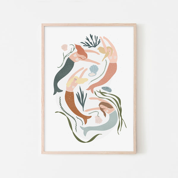 Mermaids - Girls Bedroom Decor |  Framed Print