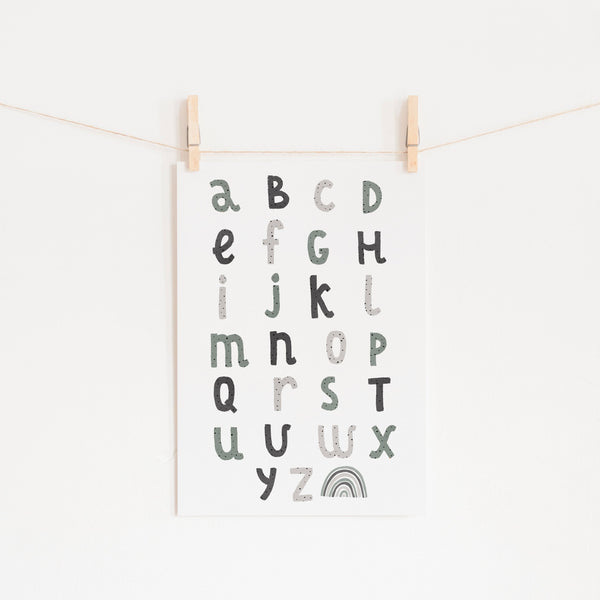 Alphabet Chart - Spearmint Blue |  Unframed
