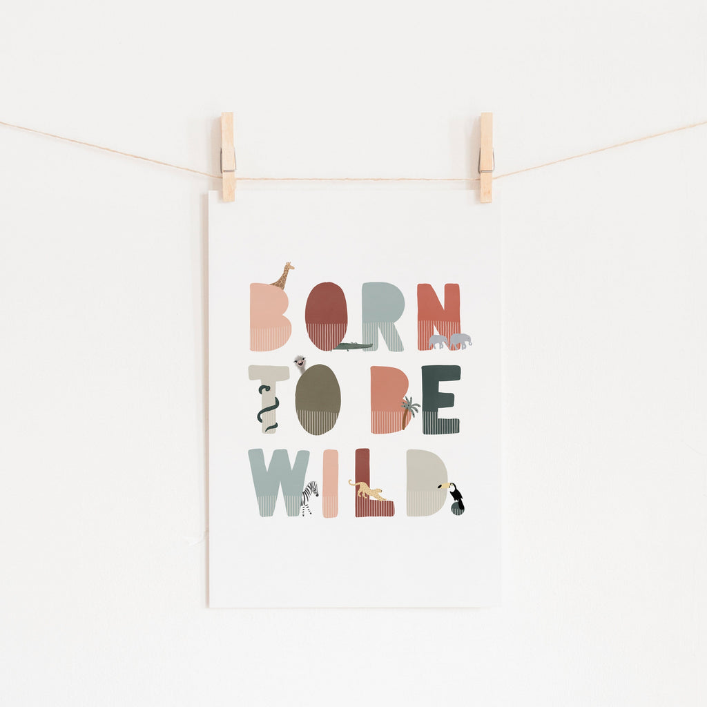 Born To Be Wild Print - Blue, Pink Illustrated | Unframed