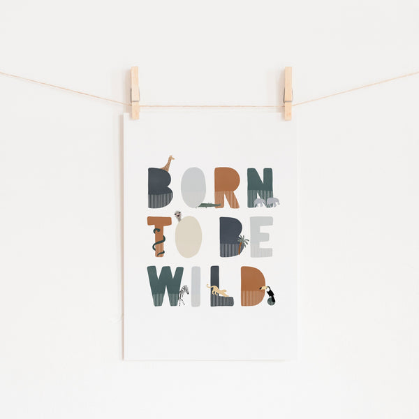 Born To Be Wild Print - Navy Illustrated |  Unframed