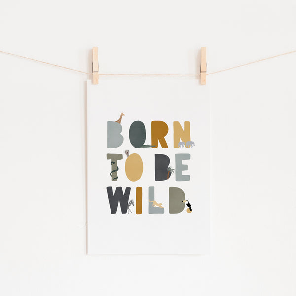 Born To Be Wild Print - Jungle Illustrated |  Fine Art Print