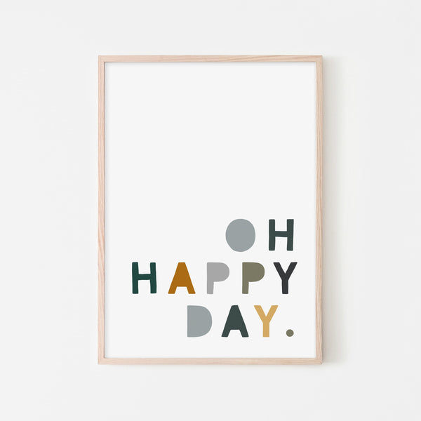 Oh Happy Day - Green, Mustard & Grey |  Framed Print