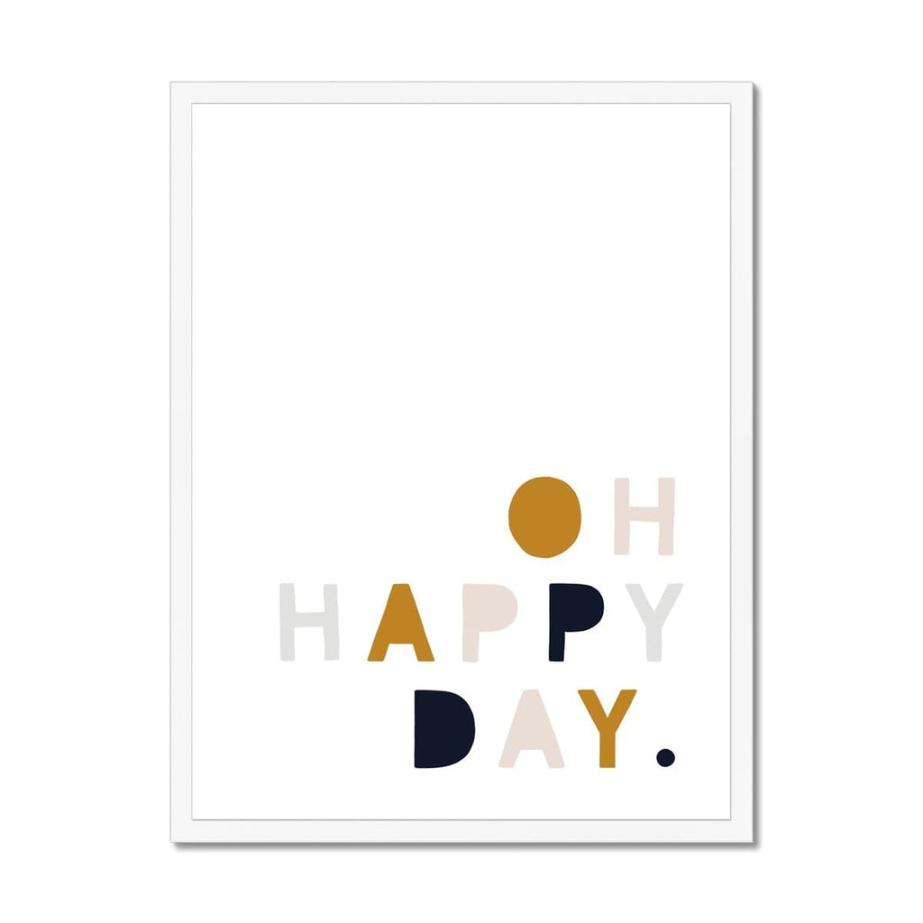 Oh Happy Day - Mustard, Pink & Navy |  Framed Print