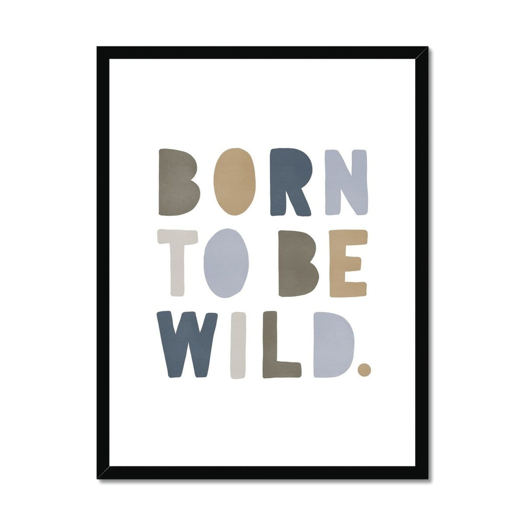 Born To Be Wild Print - Blue & Beige |  Framed Print