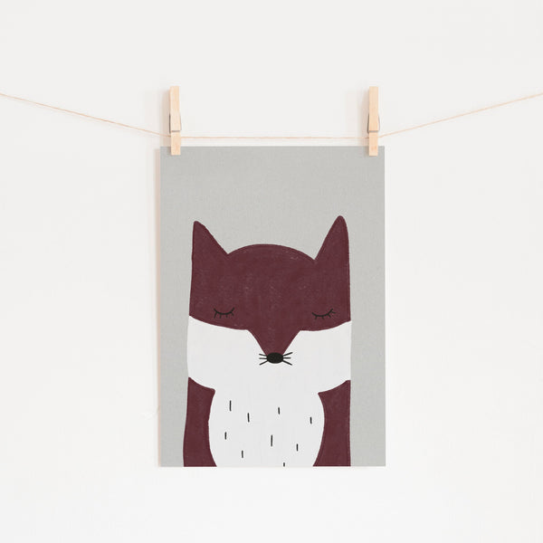 Sleepy Fox - Red |  Unframed