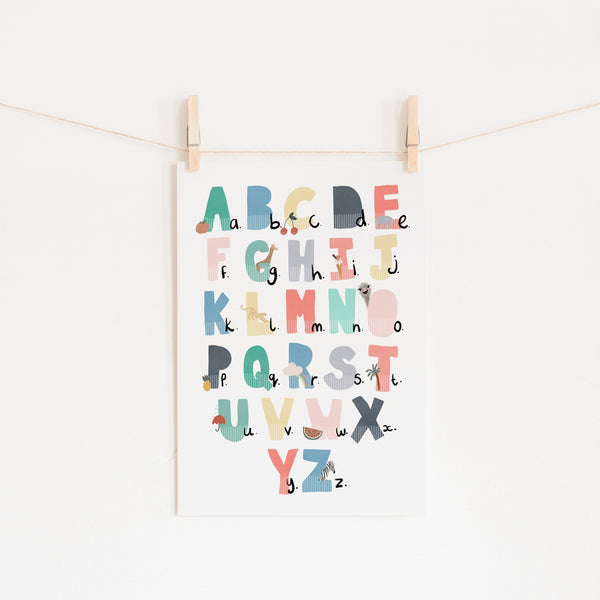 Alphabet Chart - Rainbow Colours, Illustrated |  Unframed