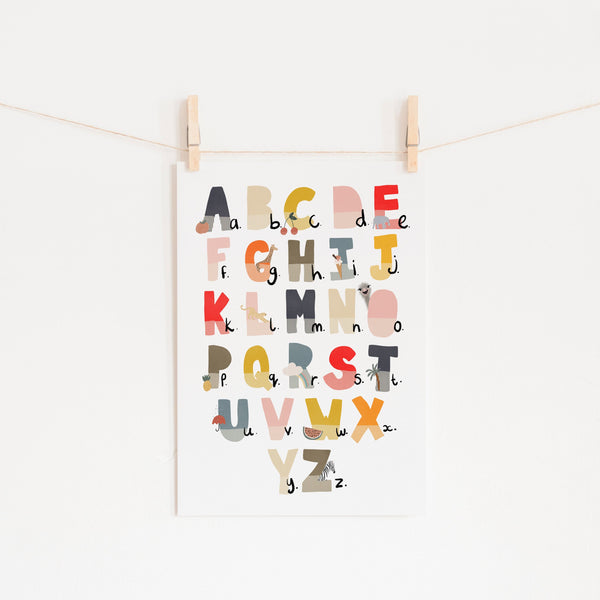 Alphabet Chart - Muted Rainbow, Illustrated |  Unframed