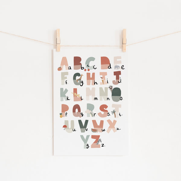 Alphabet Chart - Tutti-Frutti, Illustrated |  Unframed