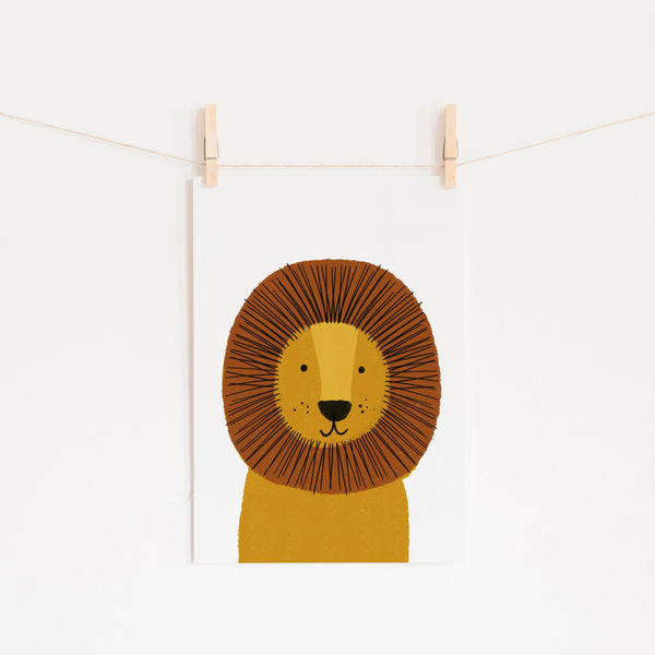 Lion - Kids Jungle Art |  Unframed