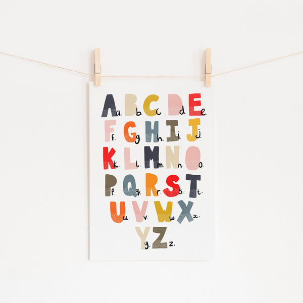 Alphabet Chart - Muted Rainbow |  Unframed