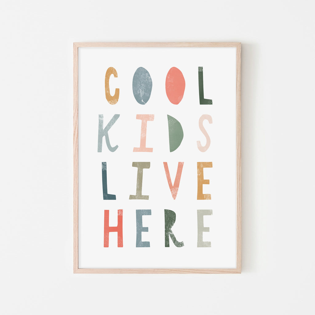Cool Kids Live Here - Space Colours |  Framed Print