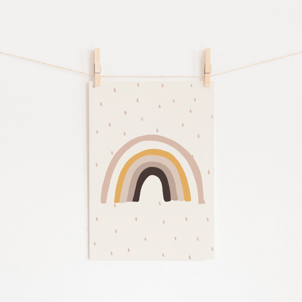 Rainbow Wall Art - Muted Colours |  Unframed