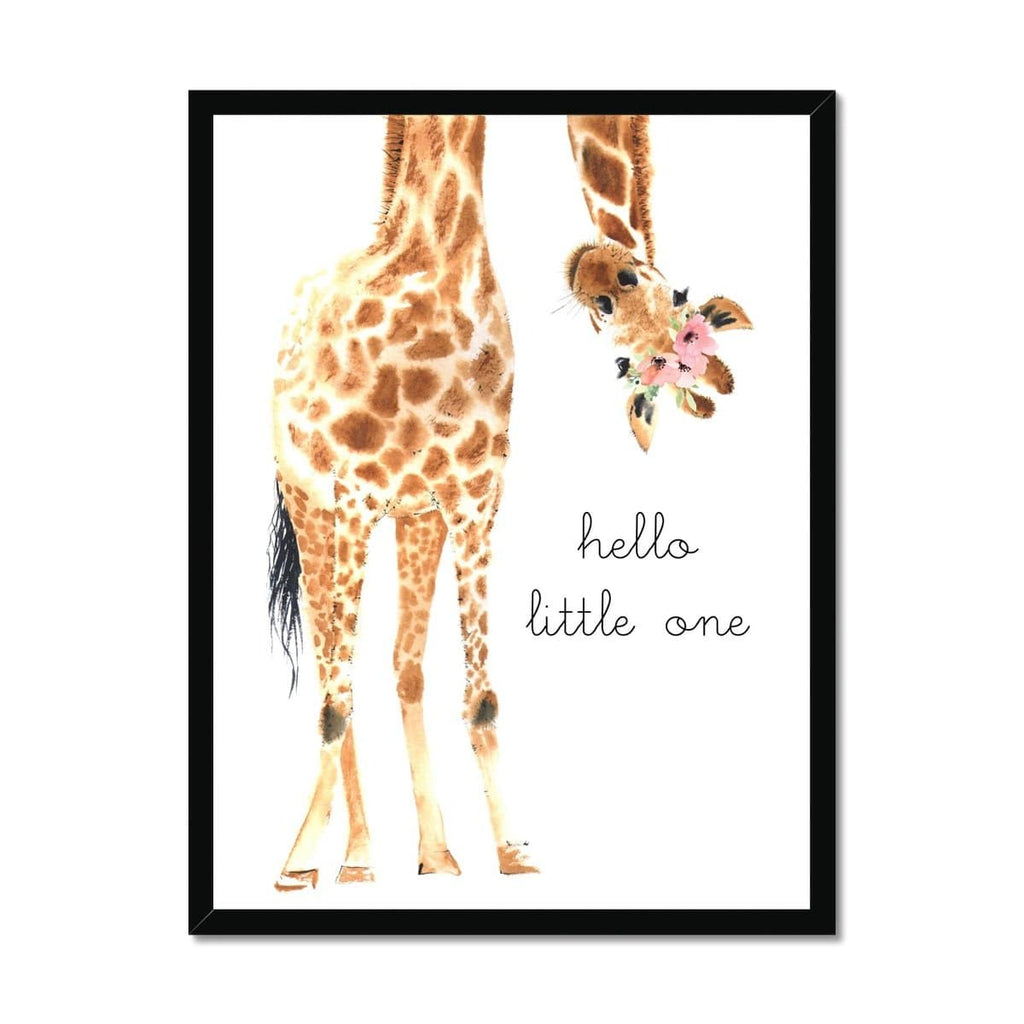 Hello Little One Giraffe - Flower Crown |  Framed Print