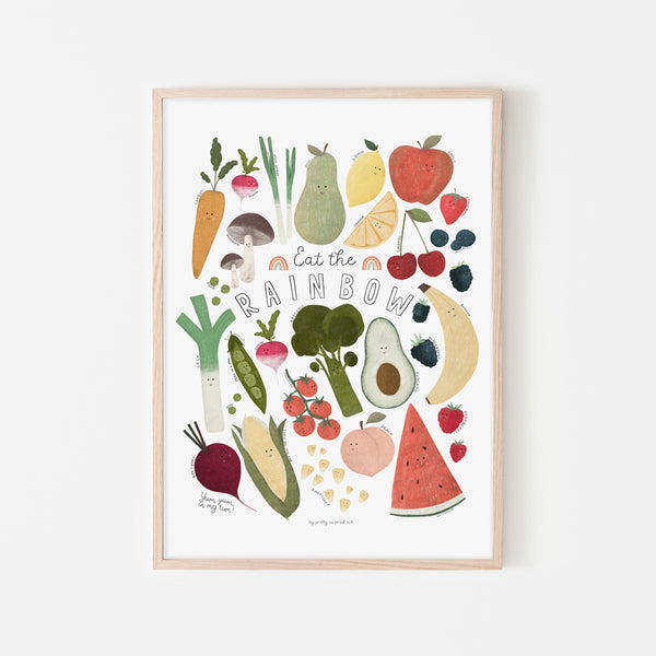 Eat The Rainbow - with faces |  Framed Print