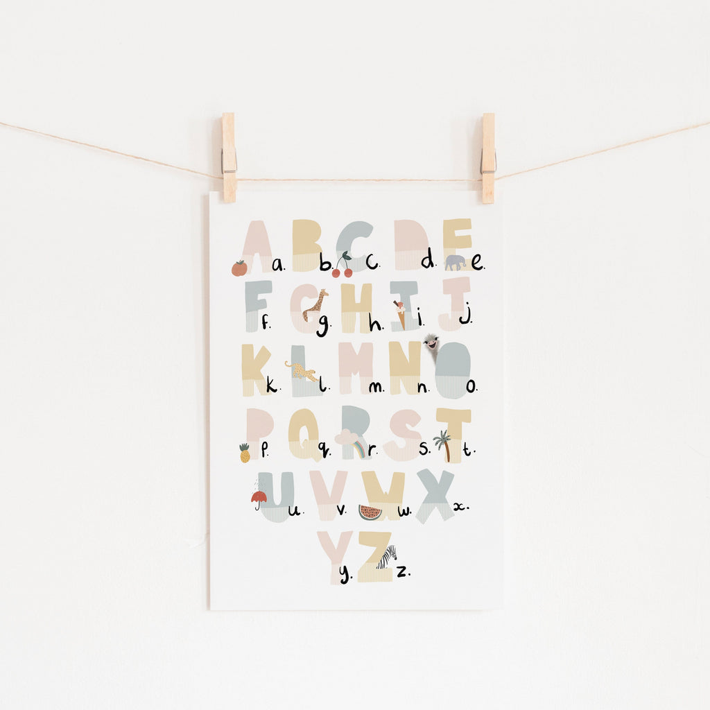Alphabet Chart - Pink Pastel, Illustrated |  Unframed