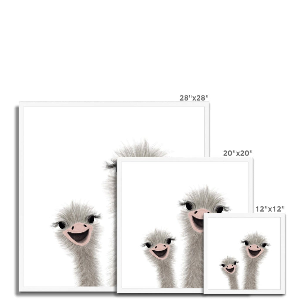 Ostrich - Funny Animal Art (landscape) |  Framed Print