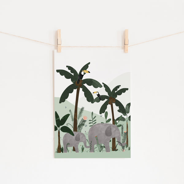 Green - Elephants in the Jungle Print |  Fine Art Print