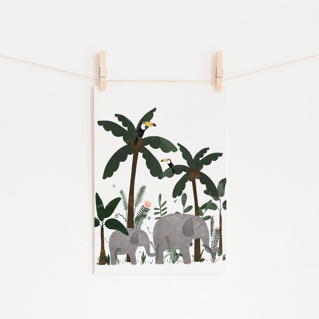 White - Elephants in the Jungle Print |  Fine Art Print